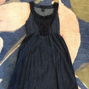 Calvin Klein Smocked Jean Dress Dark Denim